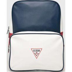 Guess Jeans - Plecak Grenoble. Szare plecaki męskie Guess Jeans, z aplikacjami, z jeansu. Za 469,90 zł.