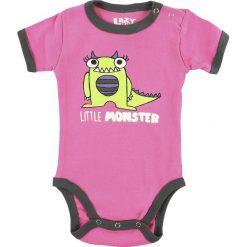 Body niemowlęce: Lazy One Little Monster Body różowy/ciemnoszary