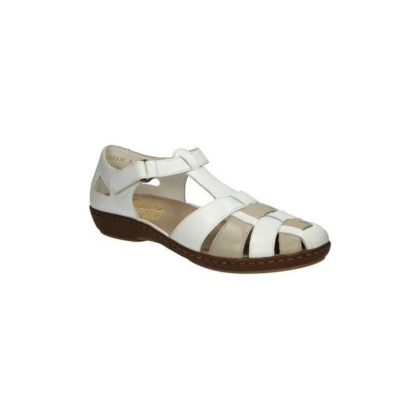 2e6aa1f621fb6 Sandały Rieker Półbuty białe skórzane 45869-80 - Białe sandały ...