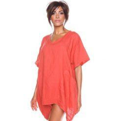 """Bluzki asymetryczne: Lniana koszulka """"Maya"""" w kolorze koralowym"""