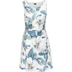 Sukienki: Sukienka z dżerseju z kwiatowym nadrukiem bonprix biel wełny – niebieski z nadrukiem