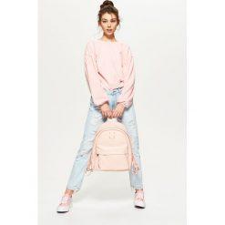 Plecaki damskie: Plecak z kontrastową podszewką - Różowy