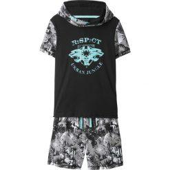 Spodnie dziewczęce: Shirt z kapturem + bermudy dresowe (2 części) bonprix czarno-biały z nadrukiem