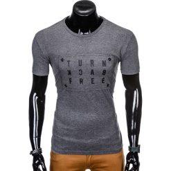 T-shirty męskie: T-SHIRT MĘSKI Z NADRUKIEM S975 - GRAFITOWY