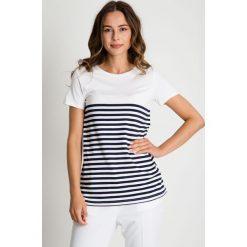 Bluzki asymetryczne: Biała bluzka w paski BIALCON