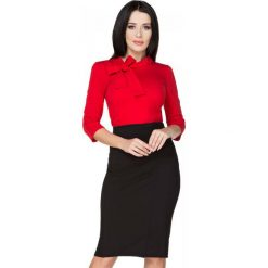 Czarna Spódnica Ołówkowa Midi z Ozdobnym Zamkiem. Czerwone minispódniczki marki Molly.pl, l, z jeansu, biznesowe, z dekoltem na plecach, z długim rękawem. Za 139,90 zł.