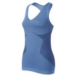Odlo Koszulka damska Singlet v-neck Evolution Light Greentec niebieska r. M. Czarne bluzki sportowe damskie marki B'TWIN, l, z elastanu, z długim rękawem. Za 123,14 zł.
