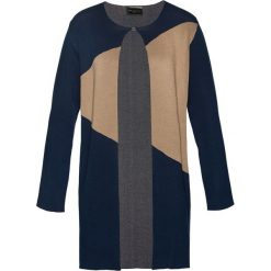 Płaszcze damskie: Płaszcz dzianinowy bonprix ciemnoniebiesko-szary melanż – wielbłądzia wełna