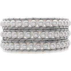Bransoletki damskie: Skórzana bransoletka z perłami w kolorze srebrno-białym