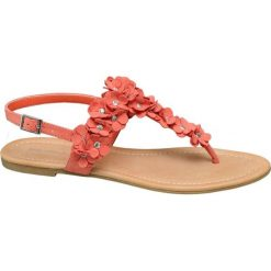 Sandały damskie Graceland pomarańczowe. Czarne sandały damskie marki Graceland, w kolorowe wzory, z materiału. Za 89,90 zł.
