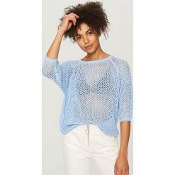Swetry damskie: Ażurowy sweter - Niebieski