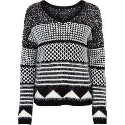 Swetry klasyczne damskie: Sweter dzianinowy bonprix czarno-biały wzorzysty