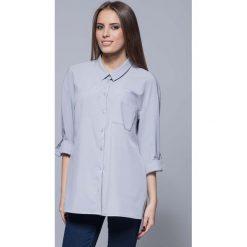 Bielizna damska: Szara Nowoczesna Oversizowa Koszula z Długim Rękawem