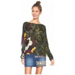 Swetry klasyczne damskie: Desigual Sweter Damski Floreado S Zielony