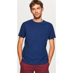 Gładki t-shirt - Granatowy. Niebieskie t-shirty męskie Reserved, l. Za 49,99 zł.