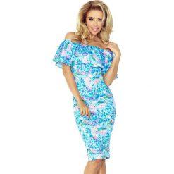 Giovanna Sukienka hiszpanka - NIEBIESKIE DROBNE KWIATY. Różowe sukienki hiszpanki marki numoco, l, z długim rękawem, maxi, oversize. Za 189,99 zł.
