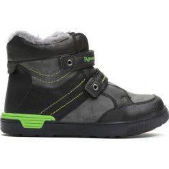 Czarno-Szare Traperki Autumn Years. Czarne buty zimowe chłopięce Born2be, z materiału, z okrągłym noskiem. Za 69,99 zł.