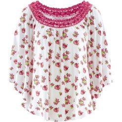 Tuniki damskie w kwiaty: Tunika z kolekcji Maite Kelly, krótki rękaw bonprix biały w kwiaty