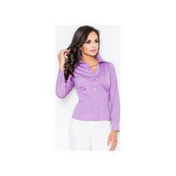 Koszula M021 Fiolet. Fioletowe koszule wiązane damskie FIGL, m, z bawełny, klasyczne, z klasycznym kołnierzykiem, z długim rękawem. Za 73,00 zł.