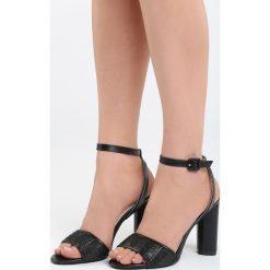 Czarne Sandały Third Party. Czarne sandały damskie na słupku marki Born2be, z materiału, na wysokim obcasie. Za 89,99 zł.
