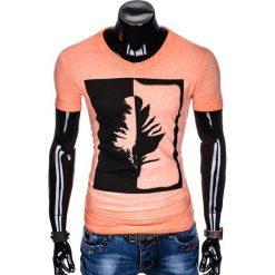 T-SHIRT MĘSKI Z NADRUKIEM S895 - POMARAŃCZOWY. Brązowe t-shirty męskie z nadrukiem Ombre Clothing, m. Za 39,00 zł.