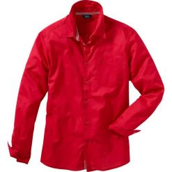 Koszula z długim rękawem Regular Fit bonprix czerwony. Czerwone koszule męskie marki bonprix, m, w paski, z kontrastowym kołnierzykiem, z długim rękawem. Za 37,99 zł.