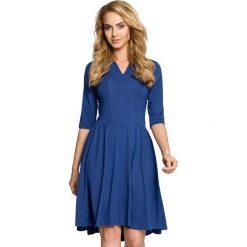 Niebieska Sukienka Rozkloszowana z Rękawem 1/2. Czarne sukienki balowe marki Molly.pl, na spotkanie biznesowe, l, z tkaniny, z dekoltem na plecach, dopasowane. Za 129,90 zł.