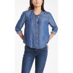 Bluzki damskie: Bluzka gładka, koszulowy kołnierzyk polo, długi rękaw