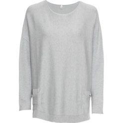 Sweter dzianinowy bonprix szary melanż. Szare swetry oversize damskie bonprix, z dzianiny. Za 109,99 zł.