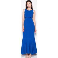 Niebieska Wieczorowa Maxi Sukienka z Nakładką. Niebieskie długie sukienki marki Molly.pl, na imprezę, l, z tkaniny, eleganckie, na ramiączkach, dopasowane. Za 179,90 zł.