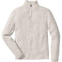 Sweter melanżowy ze stójką Regular Fit bonprix naturalny melanż. Białe golfy męskie marki bonprix, l, melanż, z dzianiny. Za 89,99 zł.