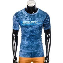 T-shirty męskie: T-SHIRT MĘSKI Z NADRUKIEM S851- CIEMNONIEBIESKI