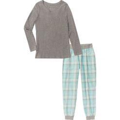 Piżamy damskie: Piżama flanelowa bonprix szary melanż z nadrukiem