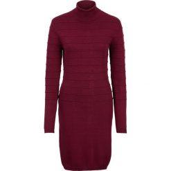 Sukienka dzianinowa z golfem bonprix ciemnoczerwony. Czerwone sukienki dzianinowe marki bonprix, w paski, z golfem. Za 89,99 zł.