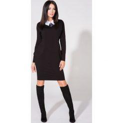 Czarna Sukienka z Dołączonym Kołnierzykiem. Czarne długie sukienki Molly.pl, l, z materiału, eleganckie, z długim rękawem, dopasowane. Za 139,90 zł.