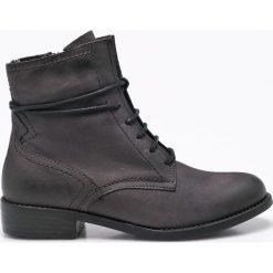 Tamaris - Botki. Czarne buty zimowe damskie Tamaris, z materiału, na obcasie, na sznurówki. W wyprzedaży za 219,90 zł.