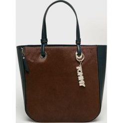 Tommy Hilfiger - Torebka skórzana. Brązowe torebki klasyczne damskie marki TOMMY HILFIGER, z materiału, duże. Za 1399,00 zł.