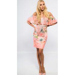 Sukienki: Łososiowa Sukienka Hiszpanka TA6120