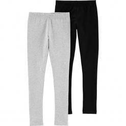 Legginsy (2 pary) w kolorze jasnoszarym i czarnym. Czarne legginsy dziewczęce marki Carter's, z bawełny. W wyprzedaży za 49,95 zł.