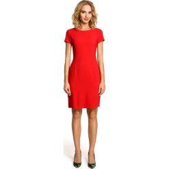Sukienki: Klasyczna, gładka sukienka z krótkim rękawem – czerwona