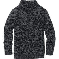 Swetry męskie: Sweter z szalowym kołnierzem Regular Fit bonprix czarno-szary melanż
