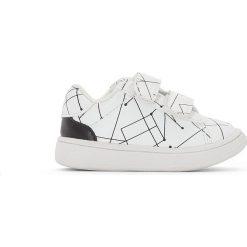 Buty na rzepy z nadrukiem 19-25. Szare buty sportowe dziewczęce marki La Redoute Collections, z bawełny, na obcasie, na rzepy. Za 111,68 zł.