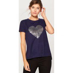 Koszulka z połyskującym nadrukiem - Niebieski. Niebieskie t-shirty damskie Mohito, l, z nadrukiem. Za 69,99 zł.