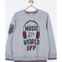Bluza. Brązowe bluzy chłopięce rozpinane marki Music, z aplikacjami, z bawełny, z długim rękawem, długie. Za 75,90 zł.