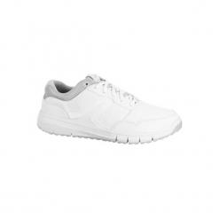 Buty damskie do szybkiego marszu Protect 140 w kolorze białym. Białe buty do fitnessu damskie marki NEWFEEL, z gumy. Za 99,99 zł.