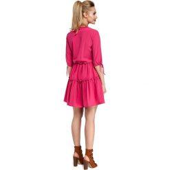 CAMILLE Gładka sukienka w stylu boho - różowa. Różowe sukienki boho marki numoco, l, z dekoltem w łódkę, oversize. Za 159,90 zł.