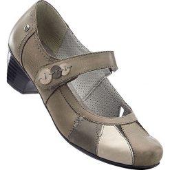 Buty ślubne damskie: Wygodne czółenka skórzane z paskiem bonprix szary