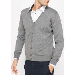 Sweter zapinany na guziki, 100% bawełna. Szare kardigany męskie marki La Redoute Collections, m, z bawełny, z kapturem. Za 102,86 zł.