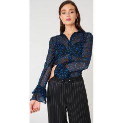Bluzki asymetryczne: NA-KD Boho Szyfonowa bluzka z rękawami z falbaną - Black,Blue,Multicolor