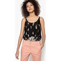 Bluzki asymetryczne: Koszulka z dekoltem V, wzór paisley, cienkie ramiączka